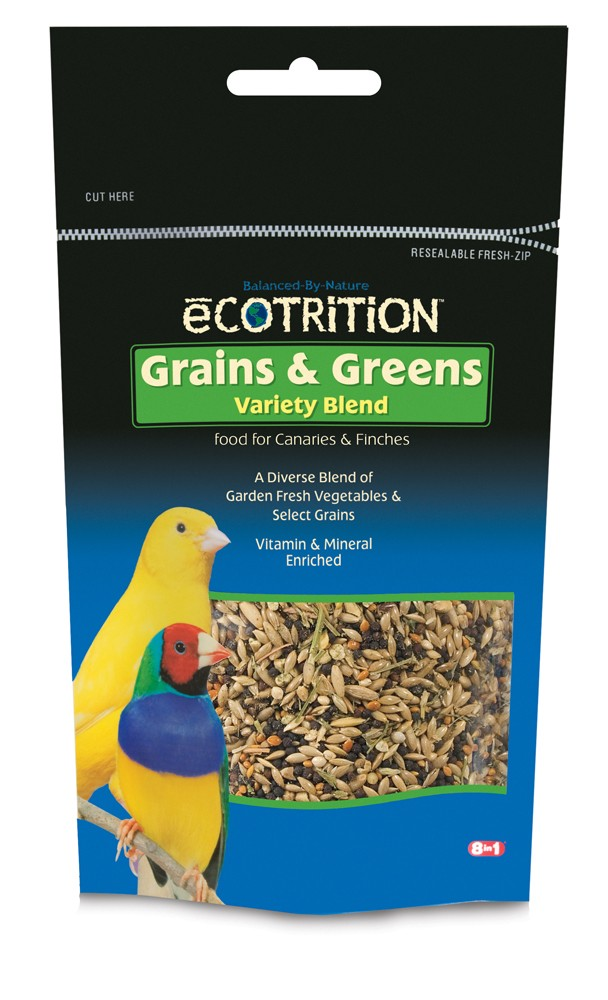 eCotrition Grains & Greens Variety Blend Canary & Finch Bird Food, 8-oz