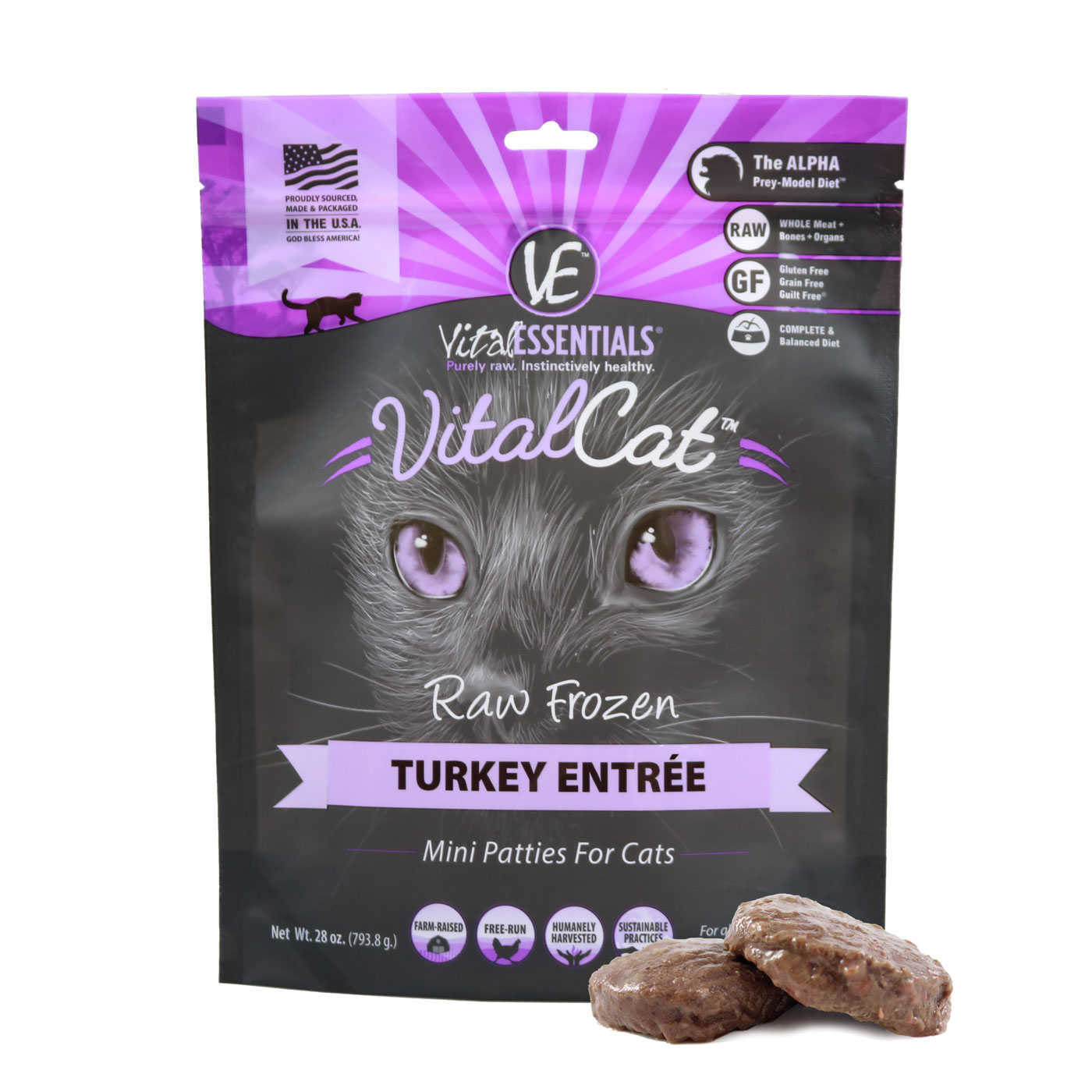 Vital Essentials Vital Cat Turkey Mini Patties Raw Frozen Cat Food Image