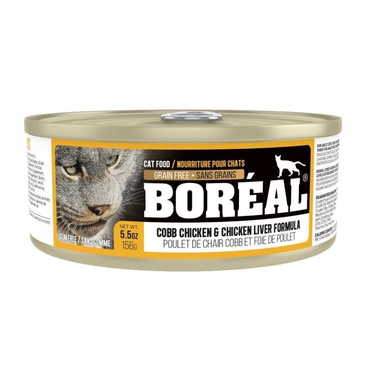 Boreal Cobb Chicken and Chicken Liver Grain-Free Canned Cat Food, 156g can