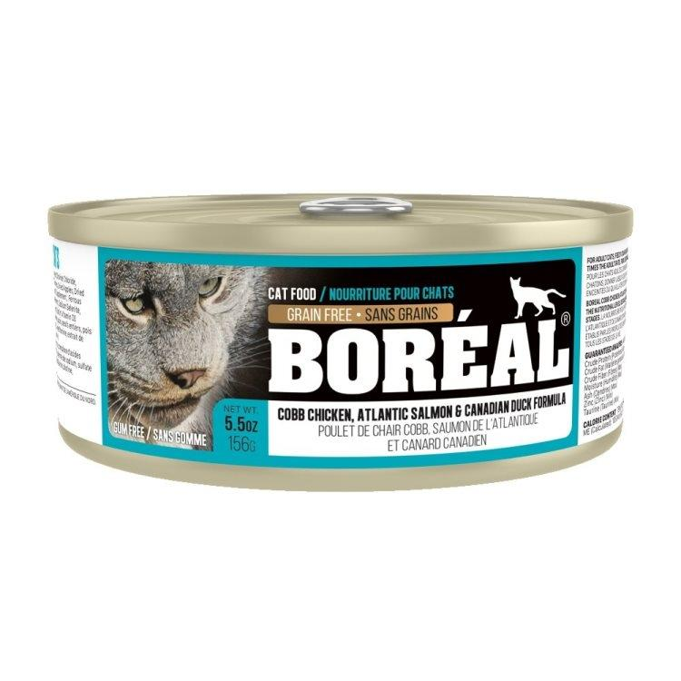 Boreal Cobb Chicken, Canadian Duck & Atlantic Salmon Grain-Free Canned Cat Food, 156g can