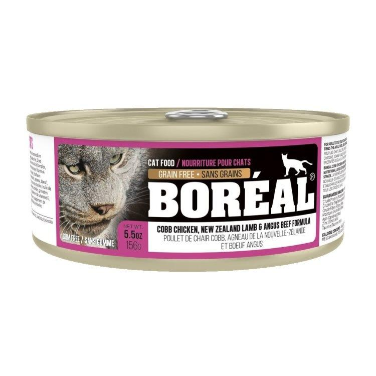 Boreal Cobb Chicken, New Zealand Lamb & Angus Beef Grain-Free Canned Cat Food, 156g can