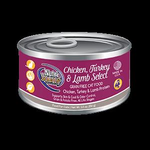 NutriSource Grain Free Chicken, Turkey & Lamb Select Wet Cat Food, 5.5-oz