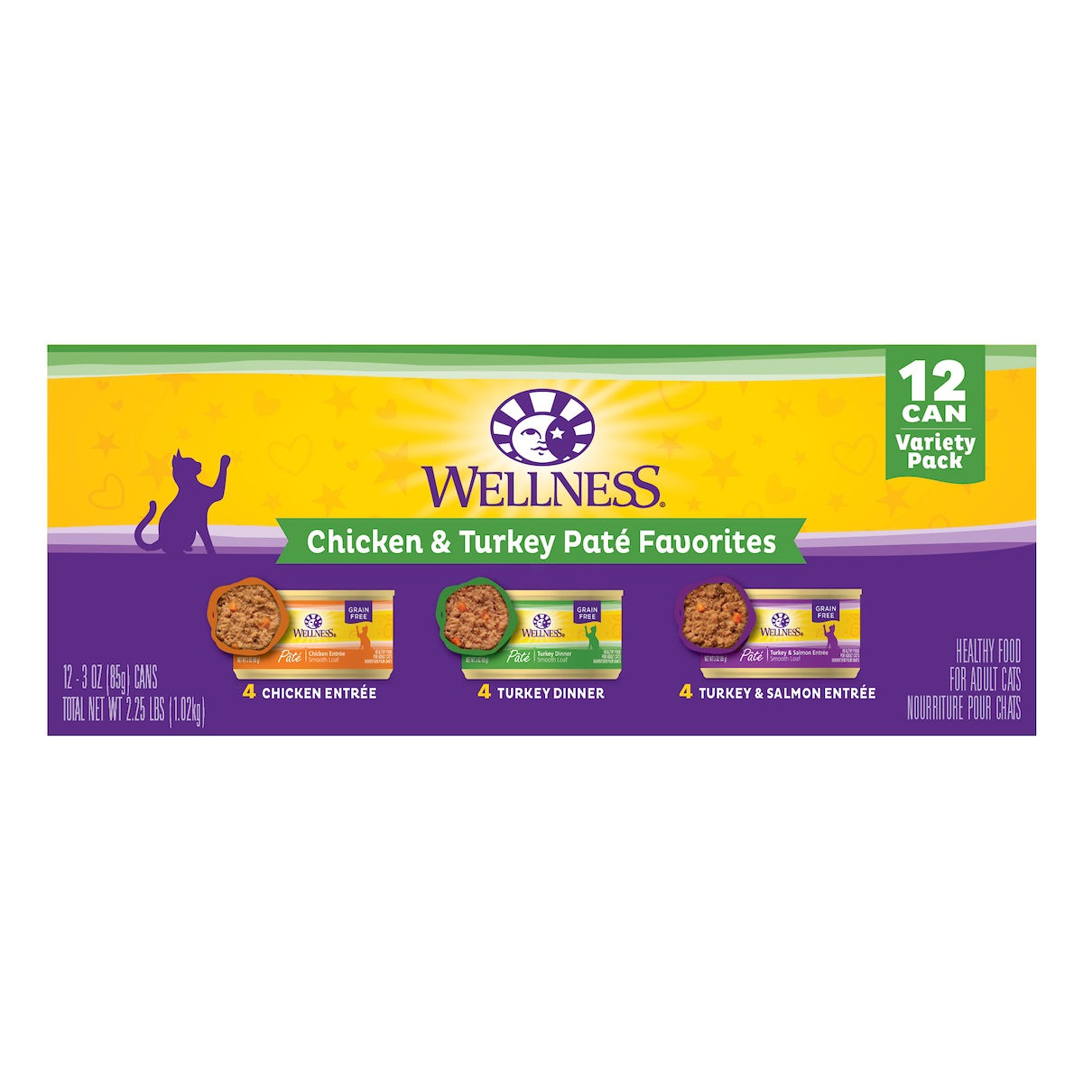 Wellness Complete Health Chicken and Turkey Pate Favorites Variety Pack Cat Food, 3-oz, 12-pack
