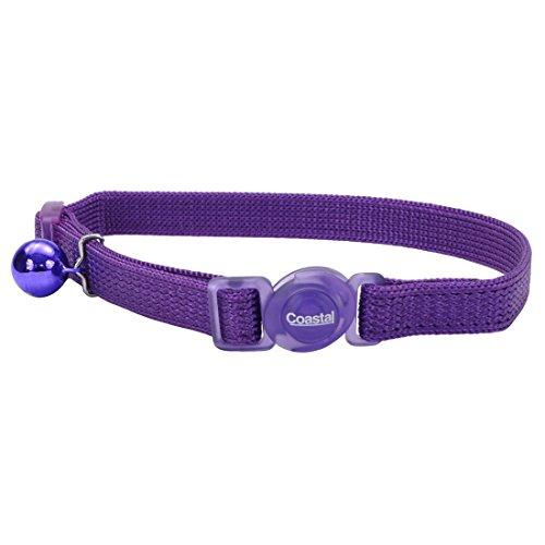 Safe Cat Adjustable Nylon Breakaway Cat Collar, Purple, 12-in