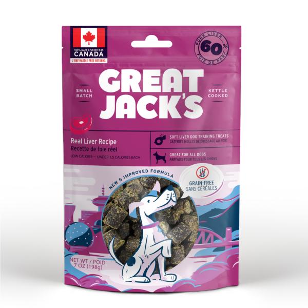 Great Jack's Big Bitz Pork Liver Grain-Free Dog Treats, 198-gram