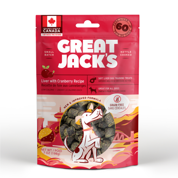 Great Jack's Pork Liver & Cranberry Grain-Free Dog Treats, 198-gram