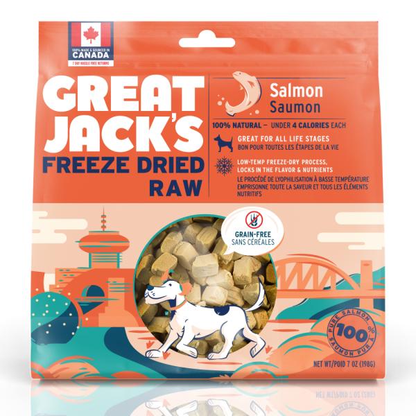 Great Jack's Salmon Grain-Free Freeze-Dried Dog Treats, 198-gram