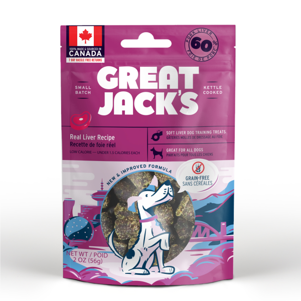 Great Jack's Big Bitz Pork Liver Grain-Free Dog Treats, 56-gram