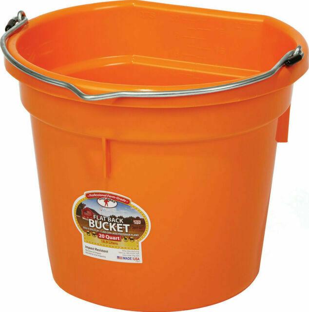 Miller Little Giant DuraFlex Flat-BackLivestock Bucket, Orange, 20-qt