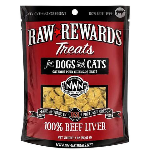 Northwest Naturals Raw Rewards Beef Liver Freeze Dried Dog & Cats Treats, 3-oz