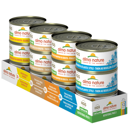 Almo Nature HQS Natural Chicken Breast, Tuna & Cheese, Chicken with Pumpkin, Atlantic Tuna Rotational Pack Adult Grain-Free Wet Cat Food, 2.47-oz, case of 12
