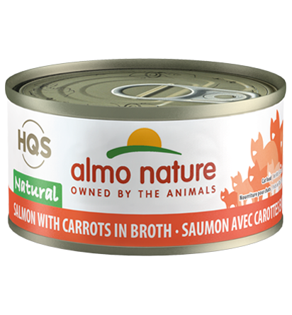 Almo Nature HQS Natural Salmon with Carrots in Broth Adult Grain-Free Wet Cat Food, 2.47-oz