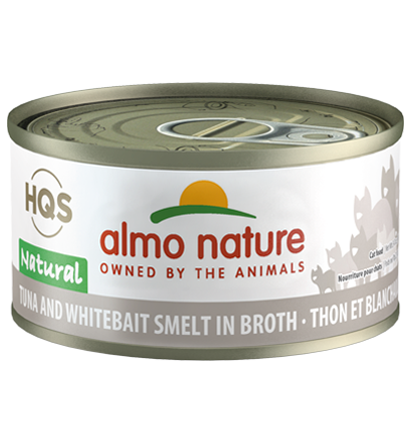 Almo Nature HQS Natural Tuna & Whitebait Smelt in Broth Adult Grain-Free Wet Cat Food, 2.47-oz