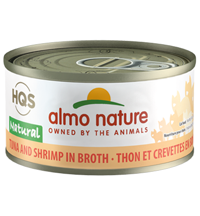 Almo Nature HQS Natural Tuna & Shrimp in Broth Adult Grain-Free Wet Cat Food, 2.47-oz, case of 24