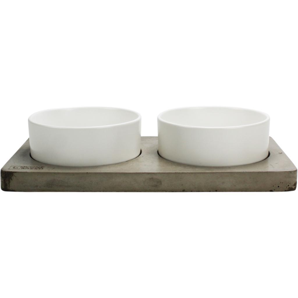 BeOneBreed Ceramic & Concrete Duo Dog Bowl, Medium