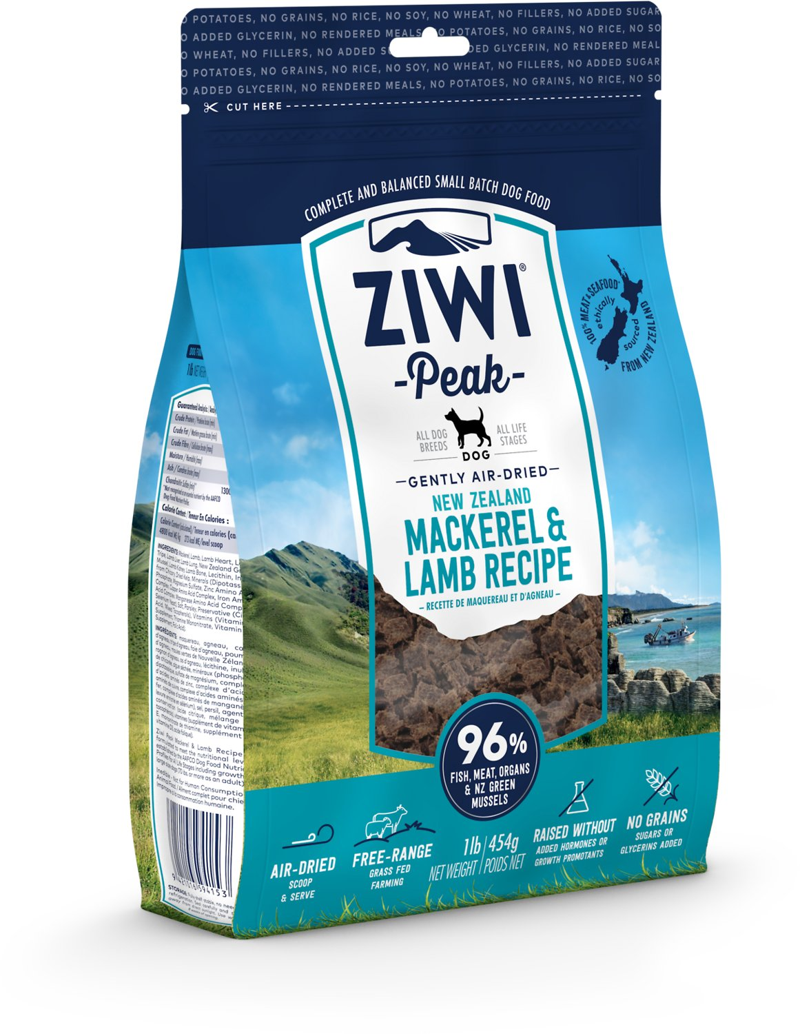 Ziwi Peak Dog Mackerel & Lamb Recipe Air-Dried Dog Food, 2.2-lb bag