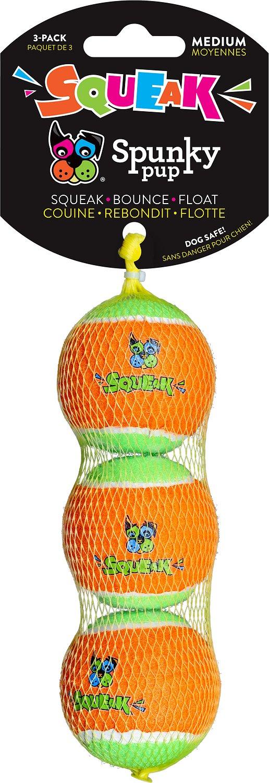 Spunky Pup Squeaky Tennis Balls Dog Toy, Medium, 3-pk