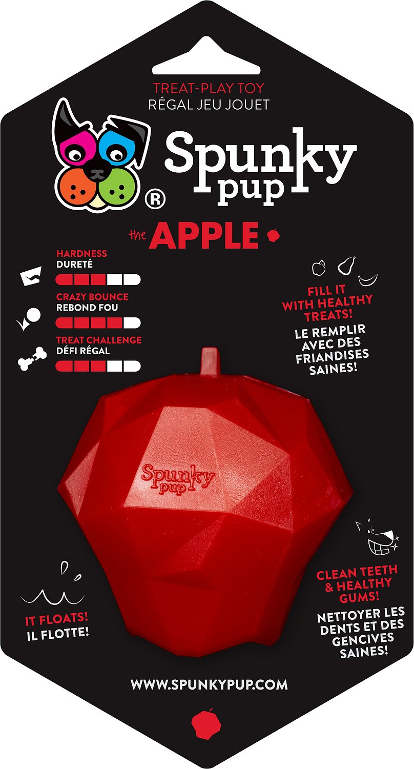 Spunky Pup Treat Holding Apple Dog Toy