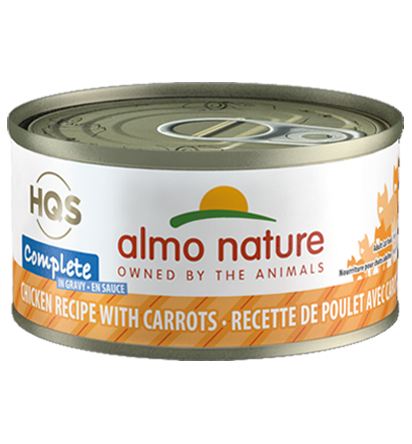 Almo Nature HQS Complete Chicken Recipe with Carrots in Gravy Grain-Free Wet Cat Food, 2.47-oz, case of 12