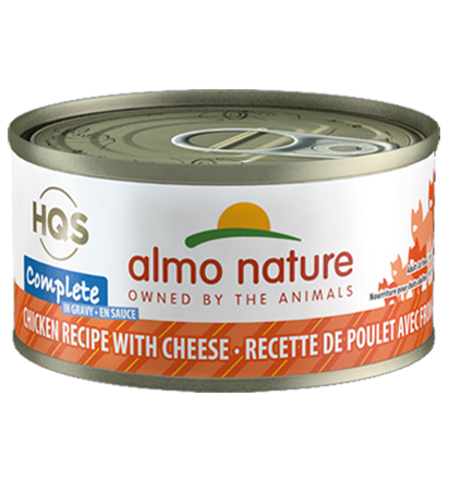 Almo Nature HQS Complete Chicken Recipe with Cheese in Gravy Grain-Free Wet Cat Food, 2.47-oz