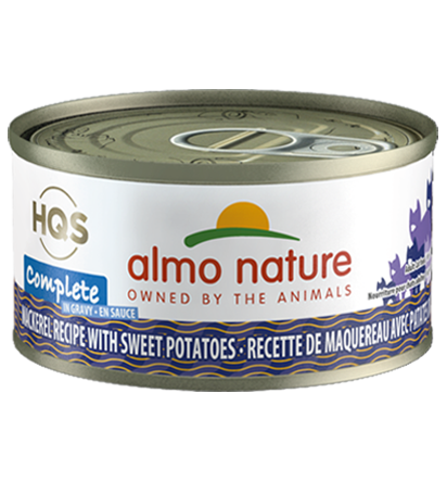 Almo Nature HQS Complete Mackerel Recipe with Sweet Potatoes in Gravy Grain-Free Wet Cat Food, 2.47-oz