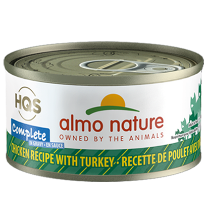 Almo Nature HQS Complete Chicken Recipe with Turkey in Gravy Grain-Free Wet Cat Food, 2.4-oz