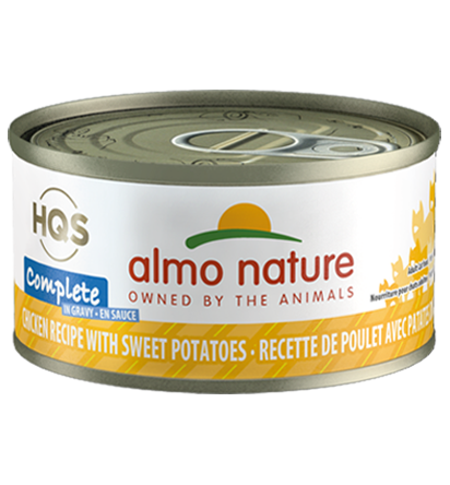 Almo Nature HQS Complete Chicken Recipe with Sweet Potatoes in Gravy Grain-Free Wet Cat Food, 2.4-oz