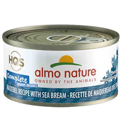 Almo Nature HQS Complete Mackerel Recipe with Sea Bream in Gravy Grain-Free Wet Cat Food, 2.4-oz