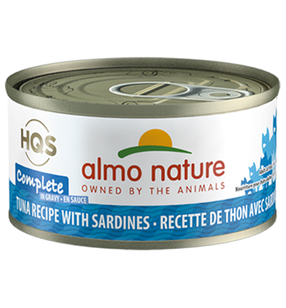 Almo Nature HQS Complete Tuna Recipe with Sardines in Gravy Grain-Free Wet Cat Food, 2.4-oz