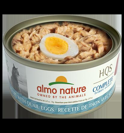 Almo Nature HQS Complete Tuna Recipe with Quail Eggs in Gravy Grain-Free Wet Cat Food, 2.47-oz