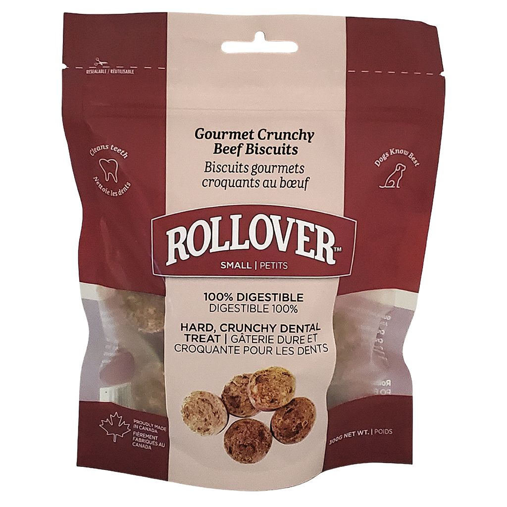 Rollover Premium Gourmet Crunchy Beef Biscuits Dog Treats,  Small, 300-gram