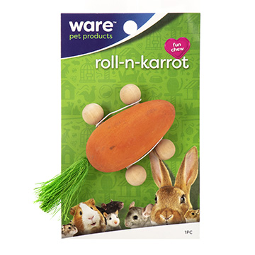 Ware Roll N' Carrot, Small Pet Wooden Chew Toy