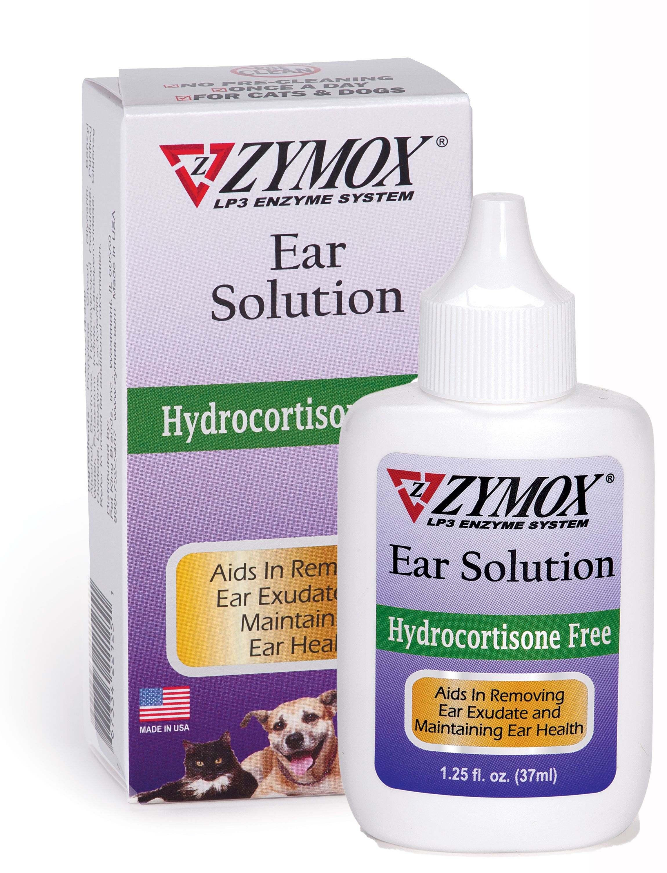 Zymox Ear Solution without Hydrocortisone for Dogs & Cats, 1.25-oz bottle