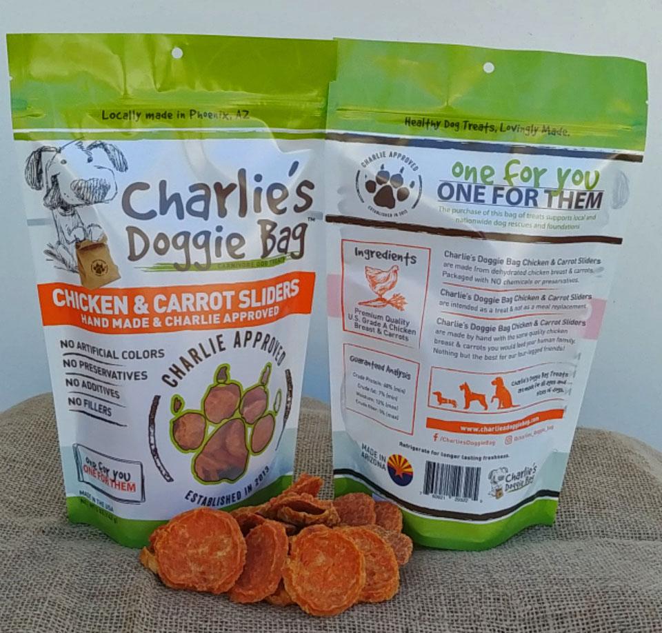 Charlie's Doggie Bag Chicken & Carrot Dog Sliders Treat, 5-oz