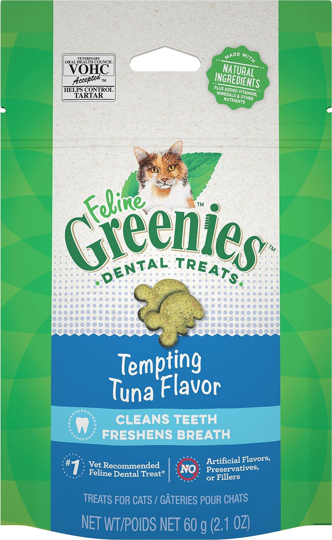 Feline Greenies Dental Treats Tempting Tuna Flavor Cat Treats, 2.1-oz bag