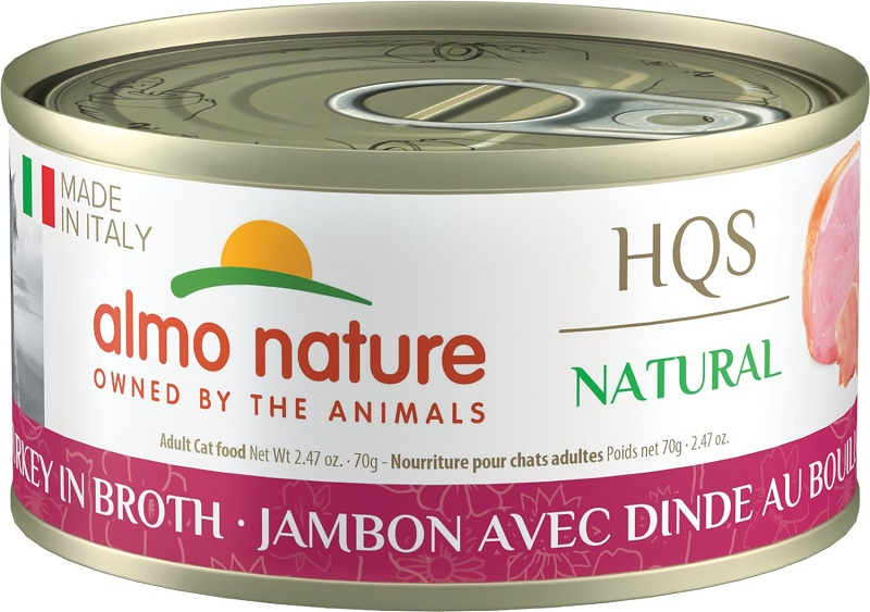 Almo Nature HQS Natural Made in Italy Ham with Turkey in Broth Adult Grain-Free Wet Cat Food, 2.47-oz