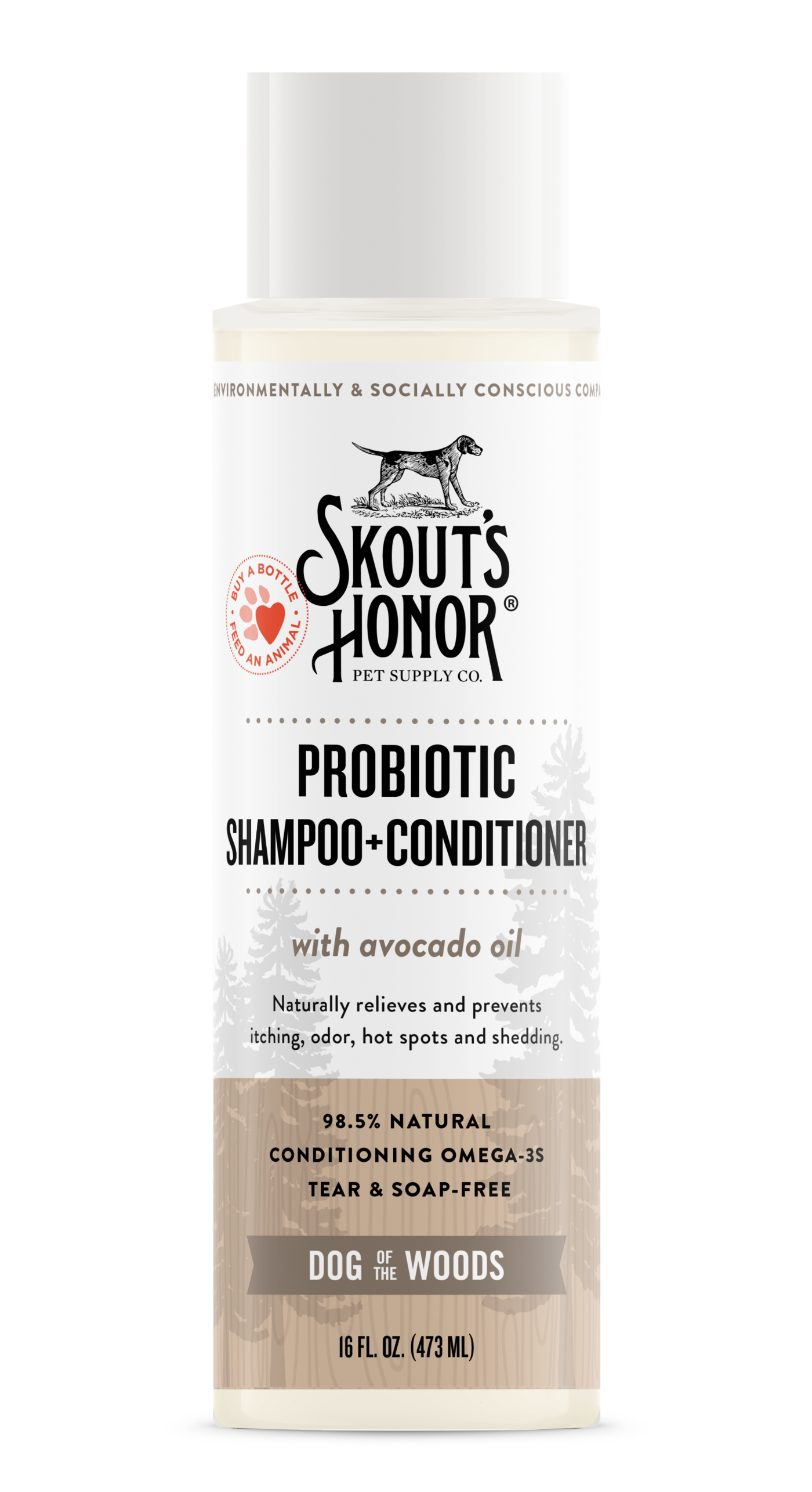 Skout's Honor Probiotic Shampoo & Conditioner (2-in-1) For Dogs & Cats, Dog of the Woods, 16-oz bottle