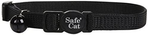 Safe Cat Adjustable Nylon Breakaway Cat Collar, Black, 12-in