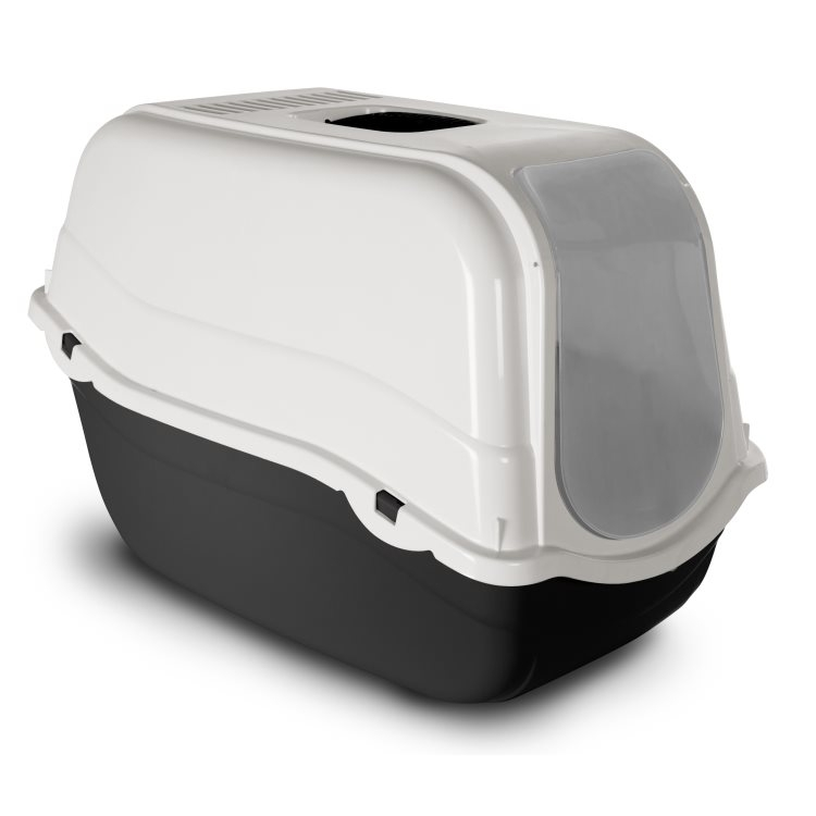 Bergamo Litter Pan Romeo With Top And Filter, Dark Grey Image