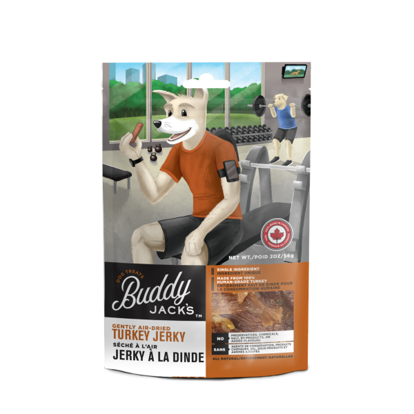 Buddy Jack's Turkey Jerky Grain-Free Air-Dried Dog Treats, 56-gram