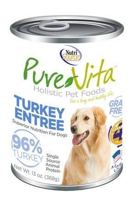 Pure Vita Grain-Free Turkey Pate Canned Dog Food, 13-oz, case of 12