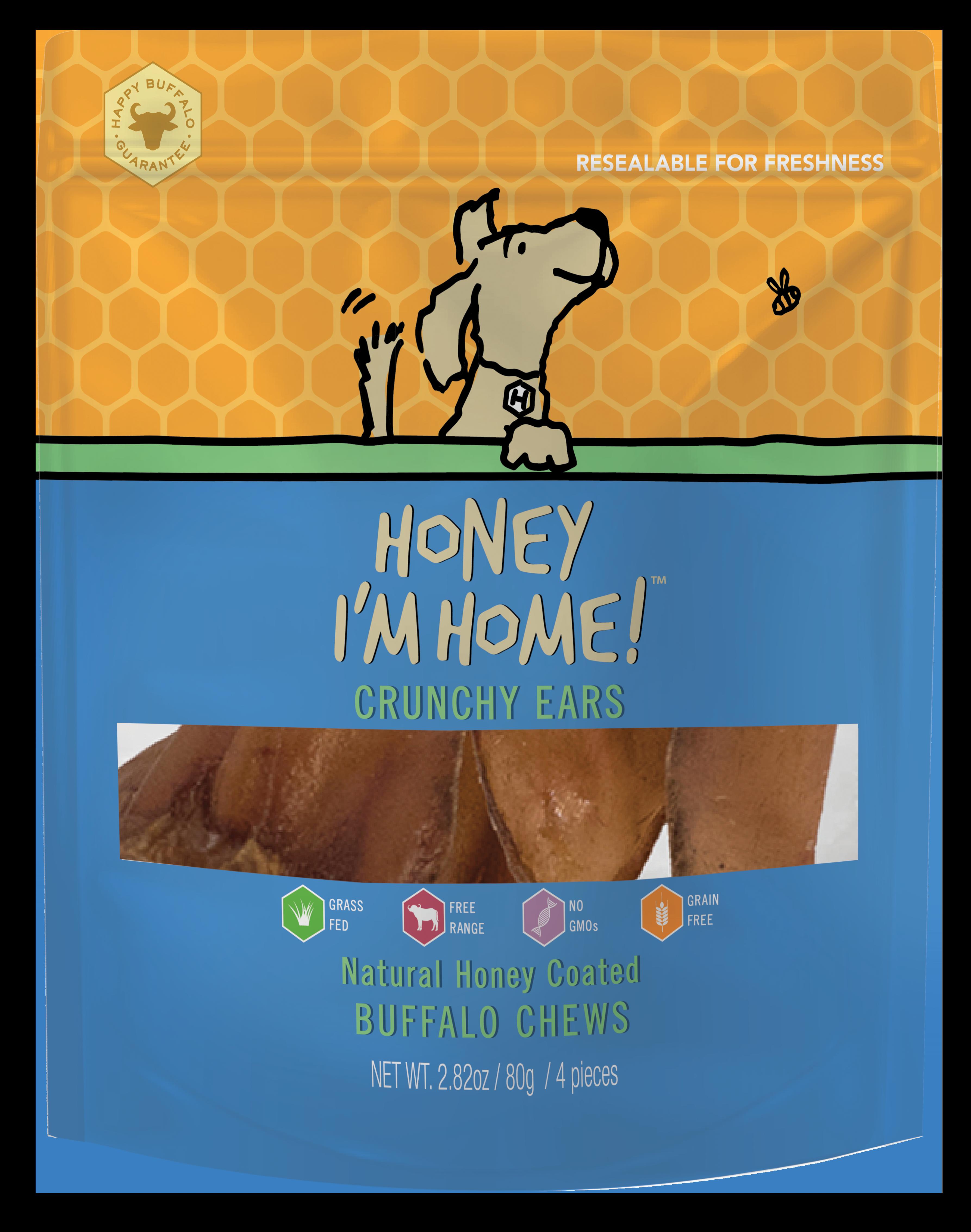 Honey I'm Home Natural Honey Coated Buffalo Crunchy Ears Dog Chews, 4-pack