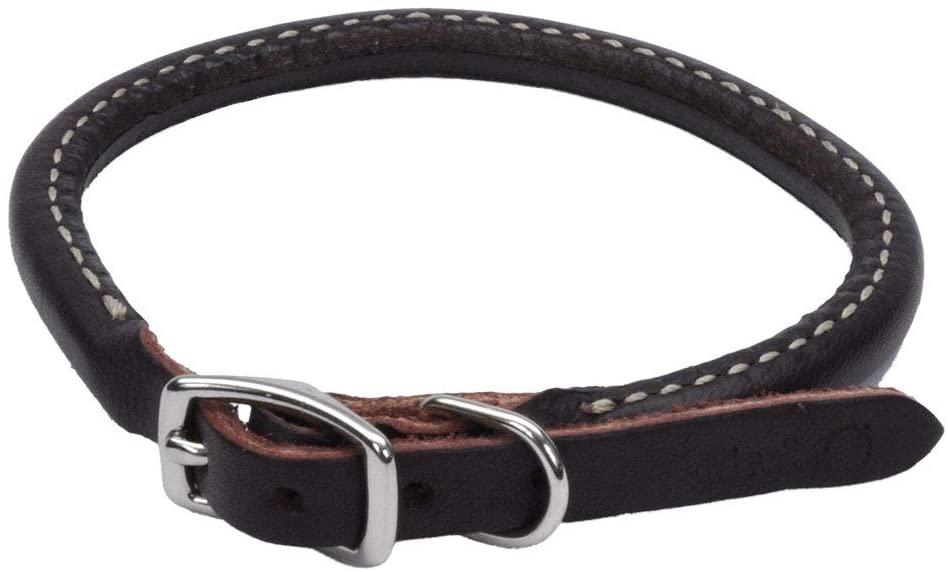 Circle T Latigo Leather Round Dog Collar, 3/8-in x 14-in