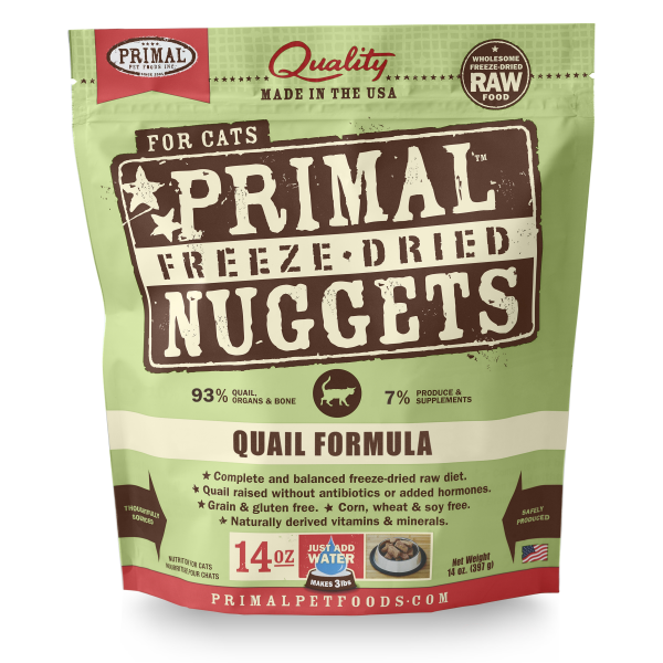 Primal Quail Formula Nuggets Grain-Free Raw Freeze-Dried Cat Food, 14-oz