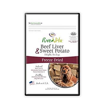 PureVita Grain-Free Beef Liver & Sweet Potato Freeze Dried Treats, 3-oz