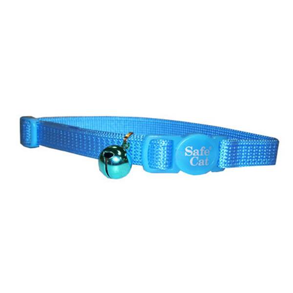 Safe Cat Adjustable Nylon Breakaway Cat Collar, Blue Lagoon, 12-in