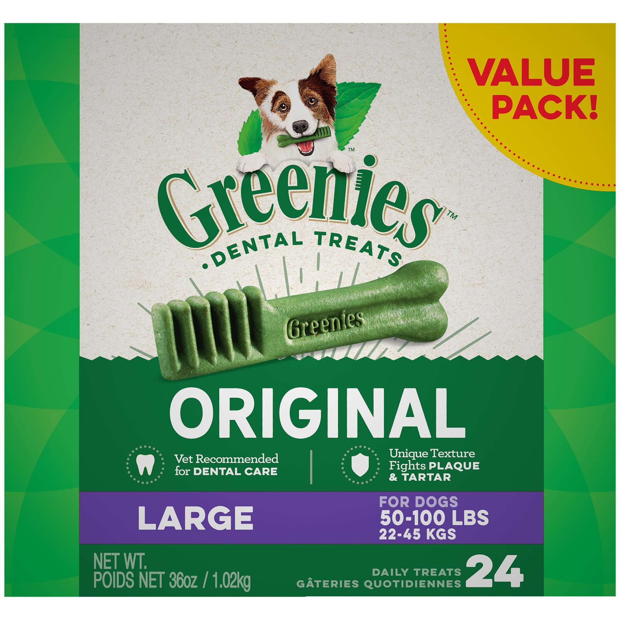 Greenies Original Large Dental Dog Treats, 24-count