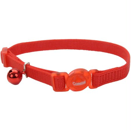 Safe Cat Adjustable Nylon Breakaway Cat Collar, Red, 12-in (Size: 12-in) Image