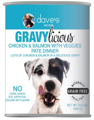 Dave's Dog Food Gravylicious Chicken & Salmon Grain Free Dog Food, 12-oz