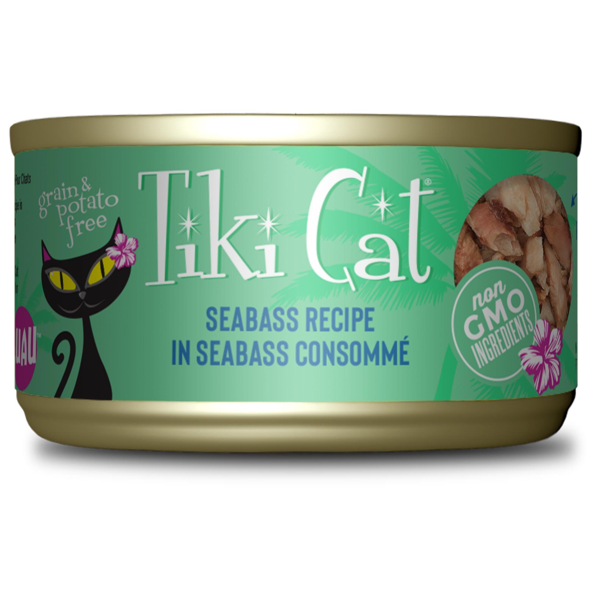 Tiki Cat Luau Oahu Seabass in Seabass Consomme Canned Cat Food, 2.8-oz